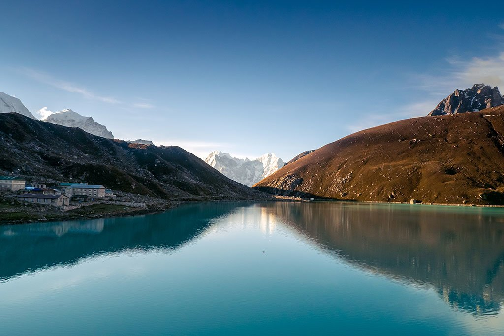 Beautiful Gokyo lake and village