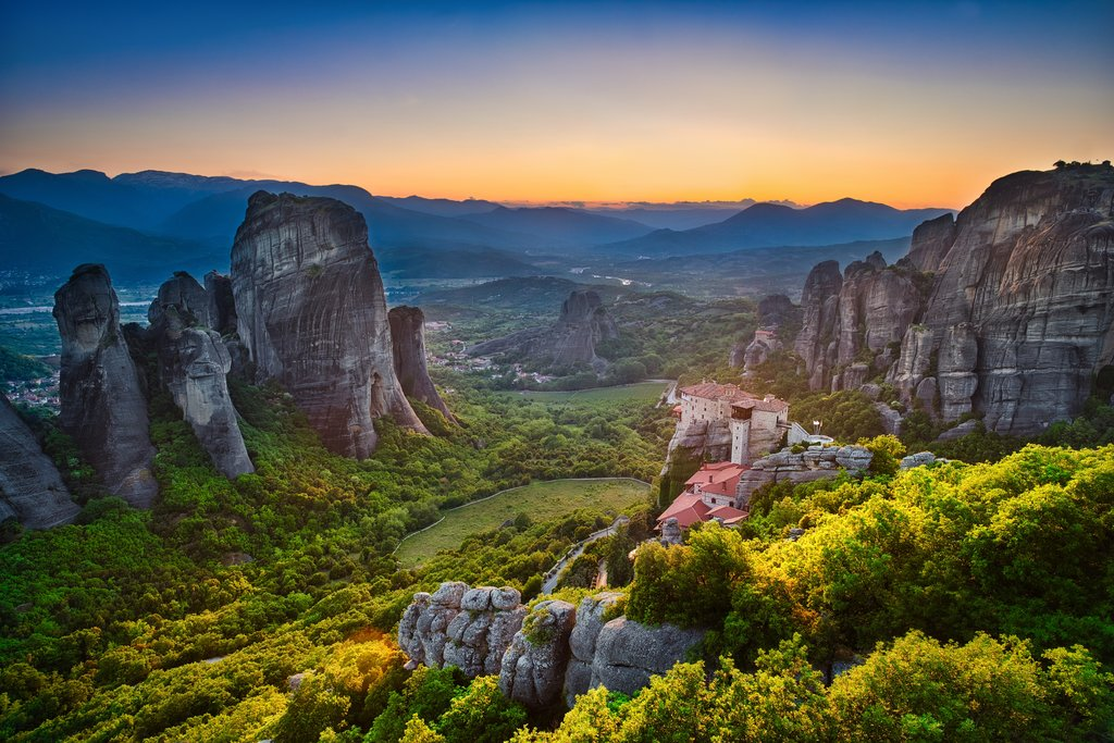 The monasteries of Meteora at sunset
