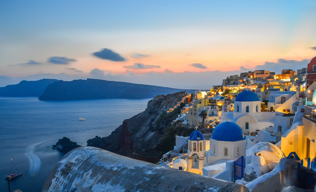 Beautiful Santorini at Sunset
