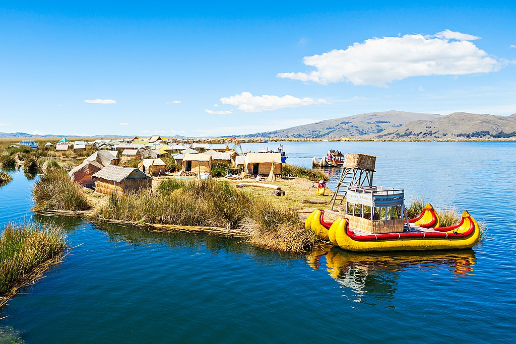 Uros floating island on Lake Titicaca