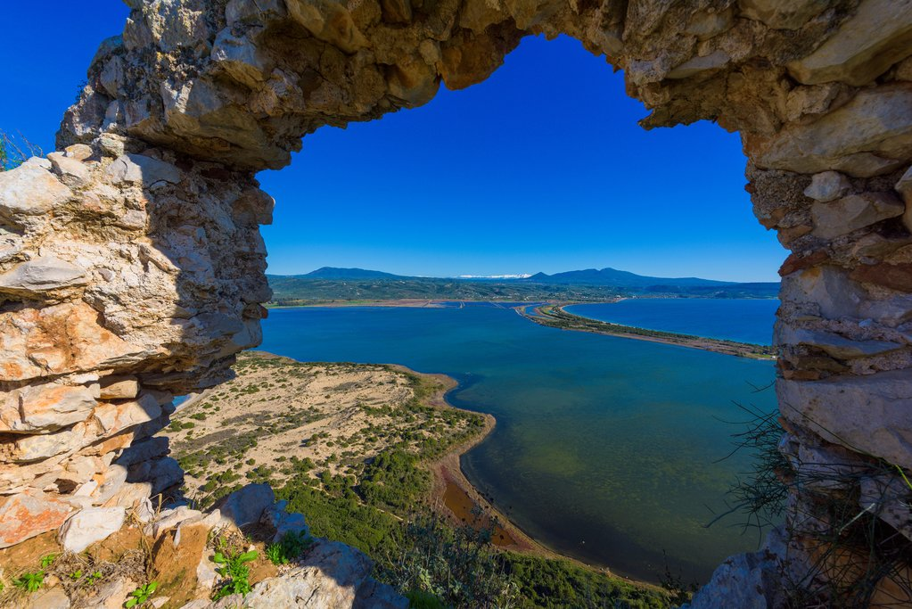 The view from Navarino Castle overlooking Pylos Bay