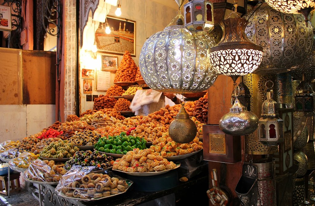 A tempting display at a souk in Marrakech