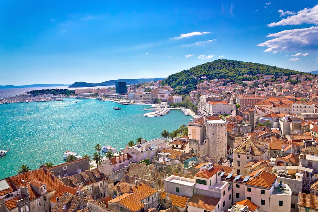 "Split hugs the Adriatic coastline and extends to the Marjan peninsula, the ""lungs of the city"""