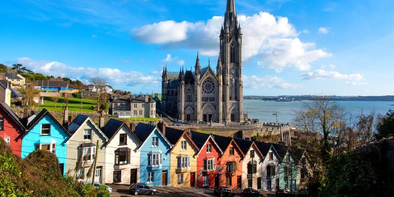 Brightly painted houses in the seaside town of Cobh.