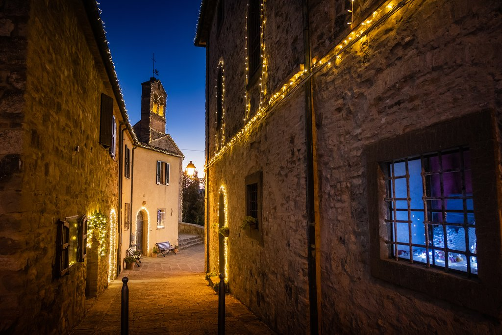 Admire festive twinkling lights in Montegemoli