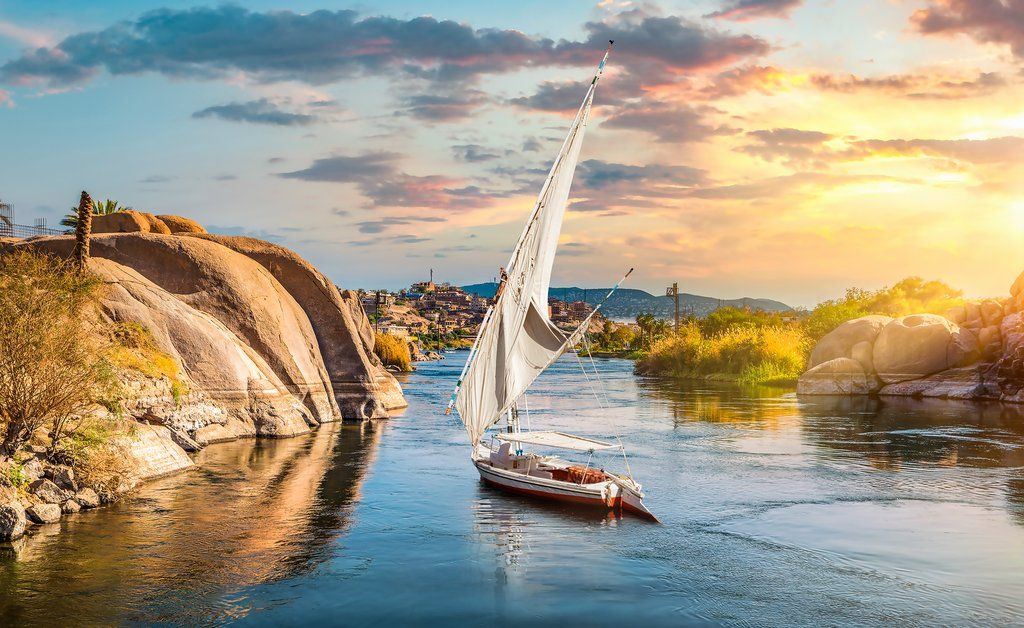 A sailboat on the Nile River at Aswan