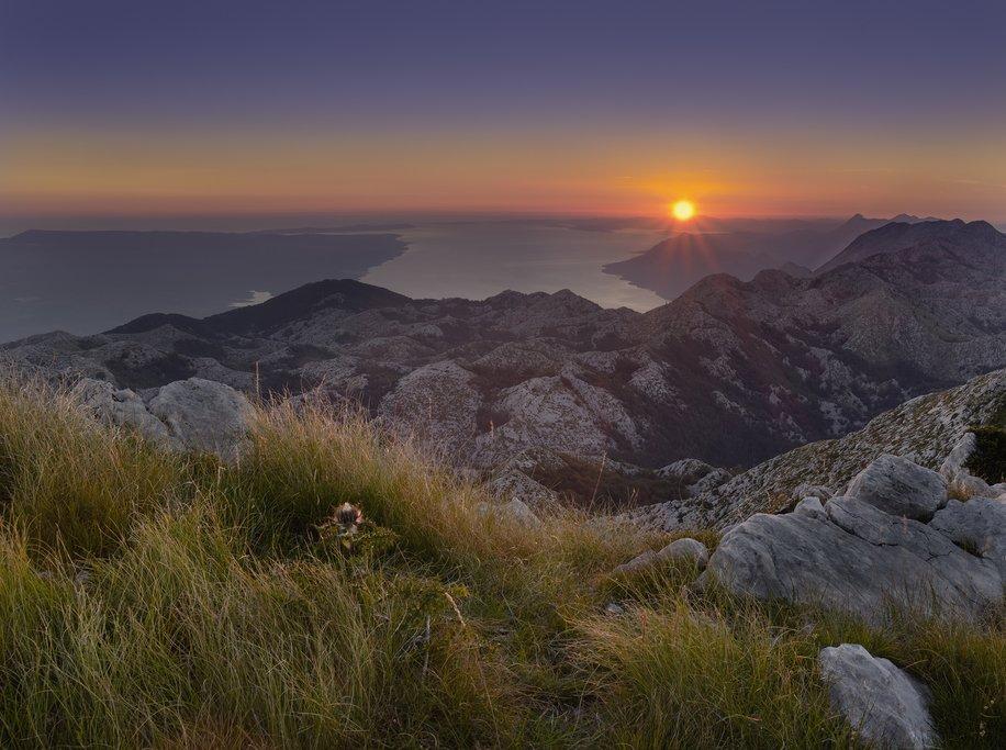 Sunset over the rugged island of Brač