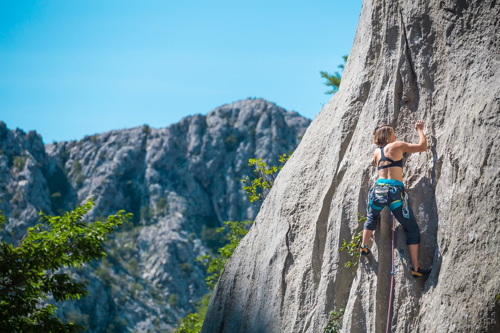 Rock climber training in Paklenica National Park