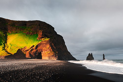 A famous black sand beach near the town of Vik