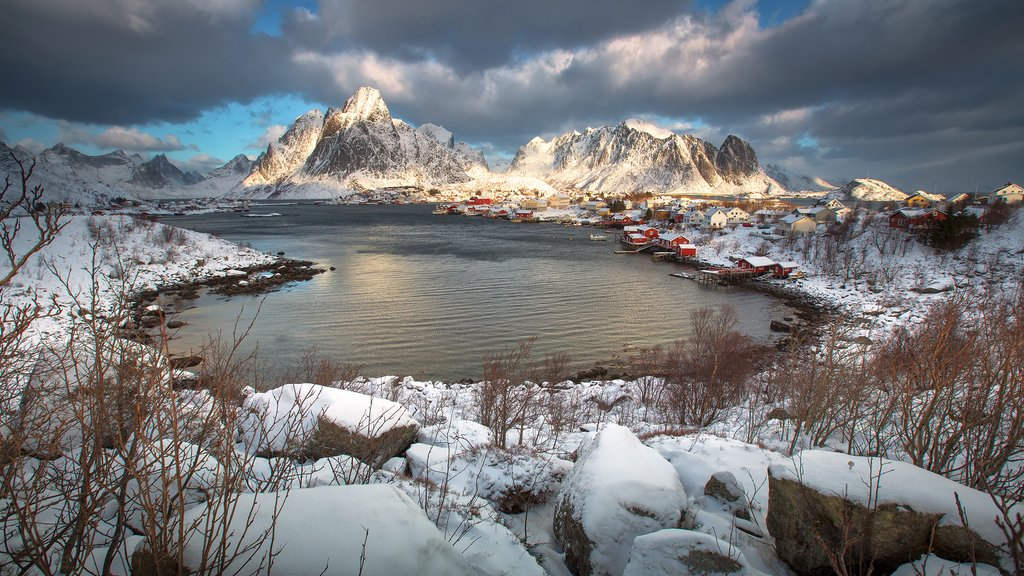 Snowcapped mountains in the Lofoten Islands