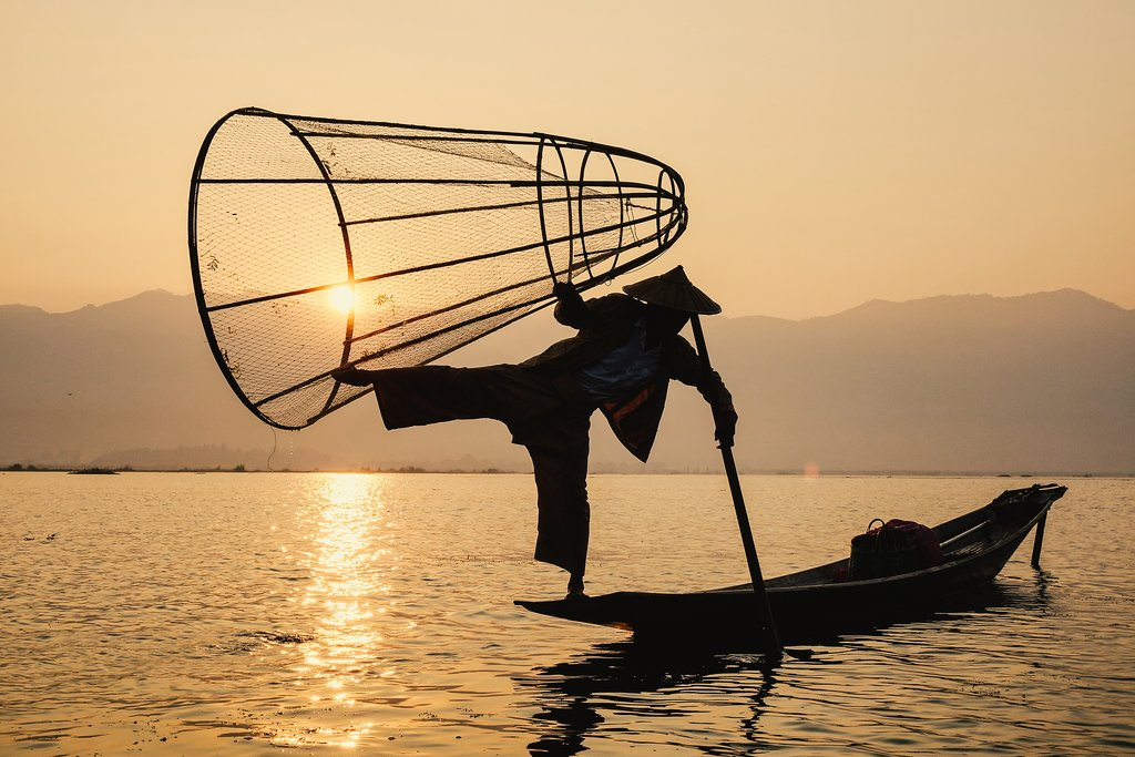 A traditional method of fishing on Inle Lake