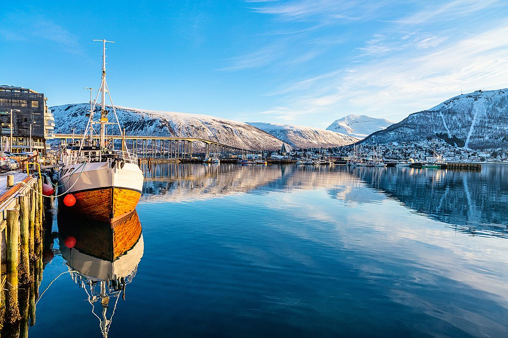 A clear day overlooking Tromsø's marina
