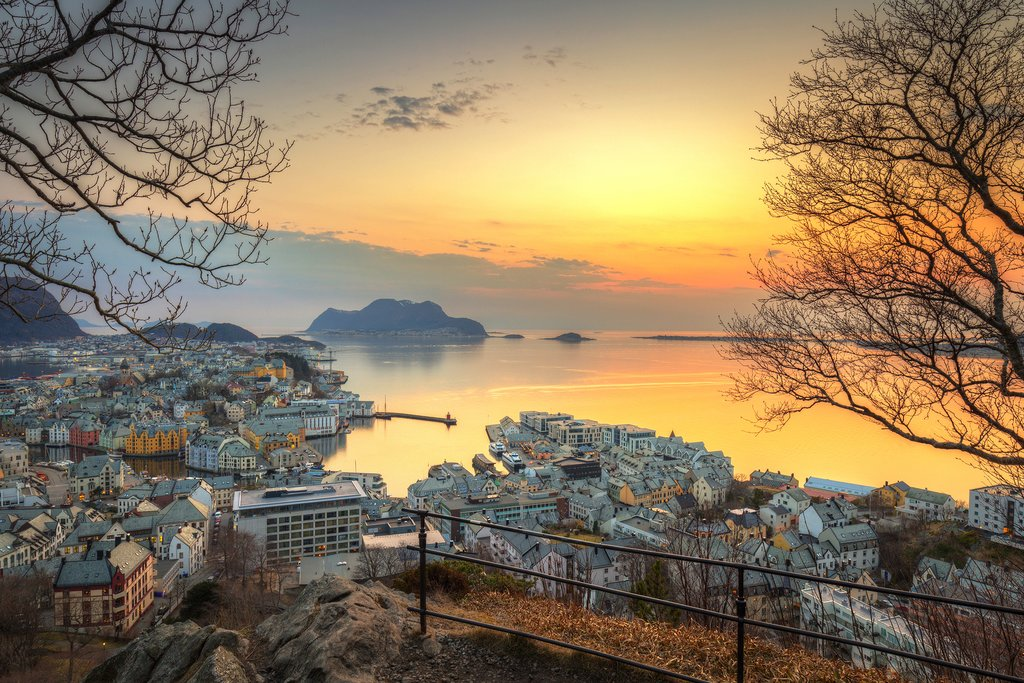 Sunset from above in the art nouveau city of Ålesund