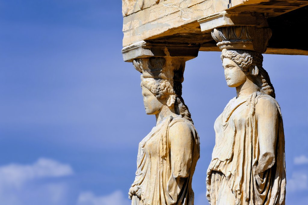 Porch of the Maidens at the Erechtheum temple at the Acropolis