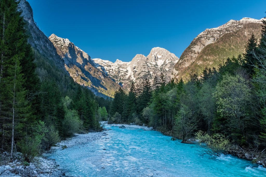 View from the Soca valley to mountains of Triglav National Park