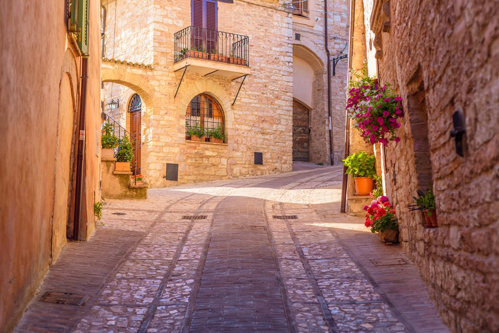 A backstreet in the hill town of Spello in Umbria
