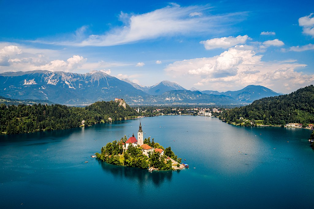 Climb the steps of the Assumption of Maria on Bled Island in Slovenia