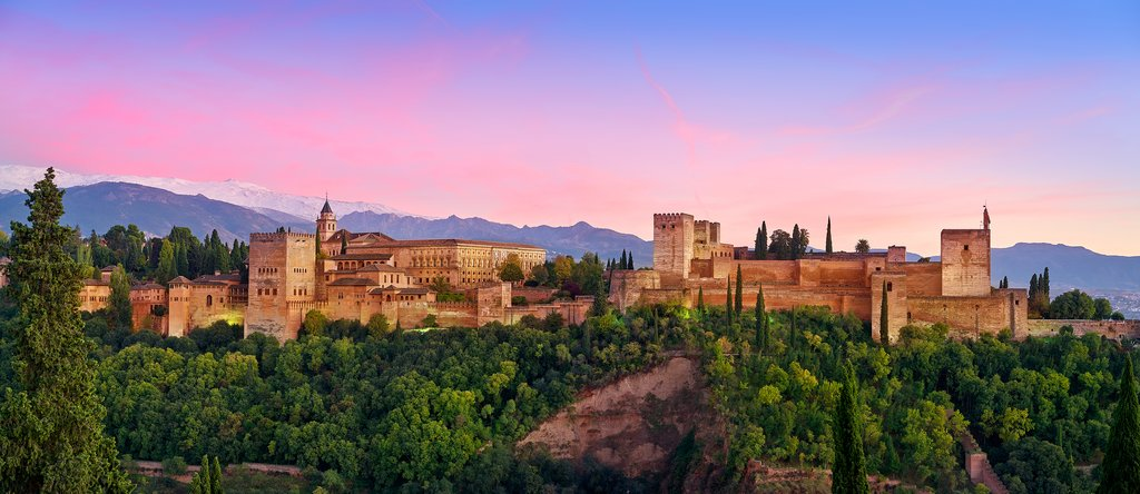 Sunset at the Alhambra in Granada, Spain