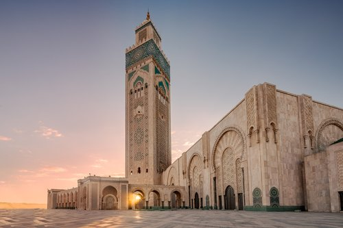 The Hassan II Mosque sits on the water