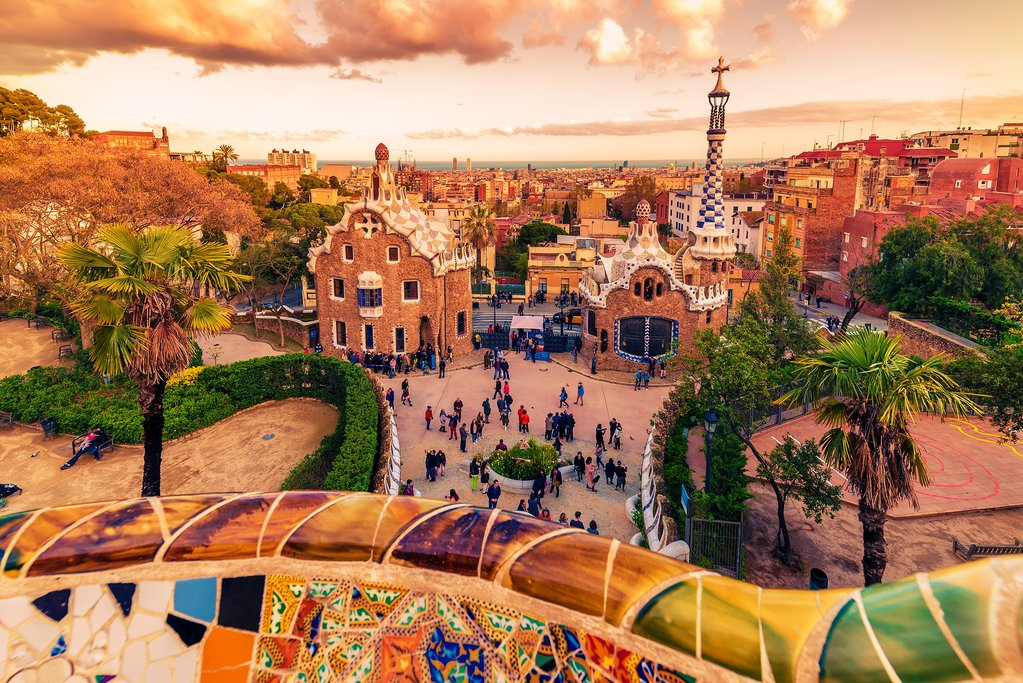 Sweeping views over Barcelona from the Modernist Parc Güell.