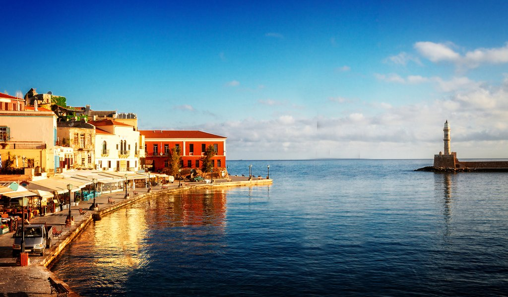 Waterfront and lighthouse of Chania old town in Crete