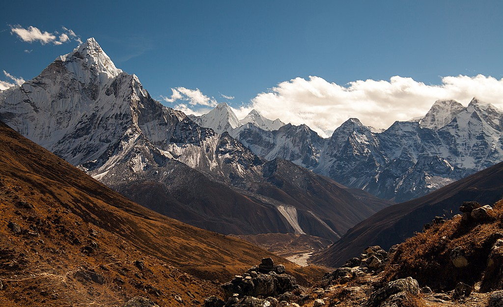 Mount Ama Dablam seen from Dingboche Village