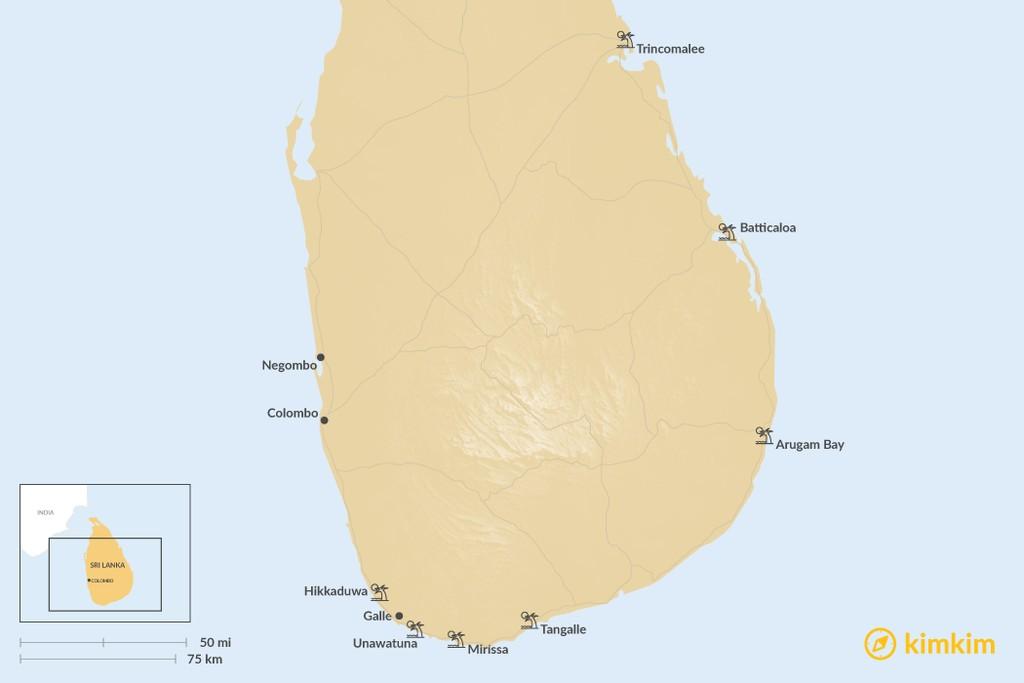 Map of Best Beaches in Sri Lanka