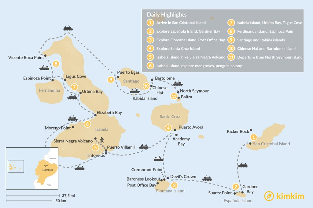 Map of Galapagos Cruise: Wildlife Watching, Snorkeling & Hiking - 11 Days