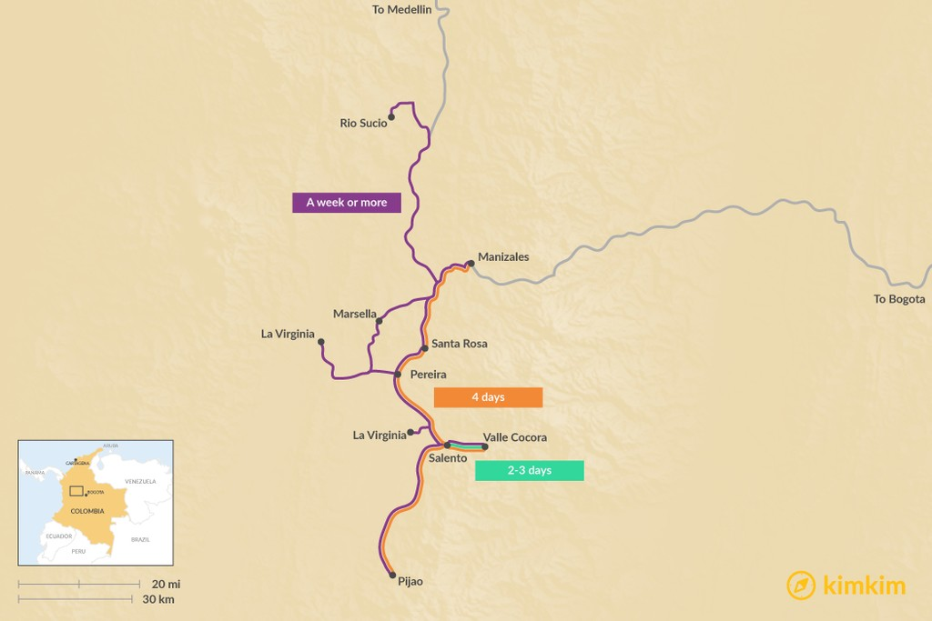 Map of Ultimate Guide to Colombia's Coffee Region