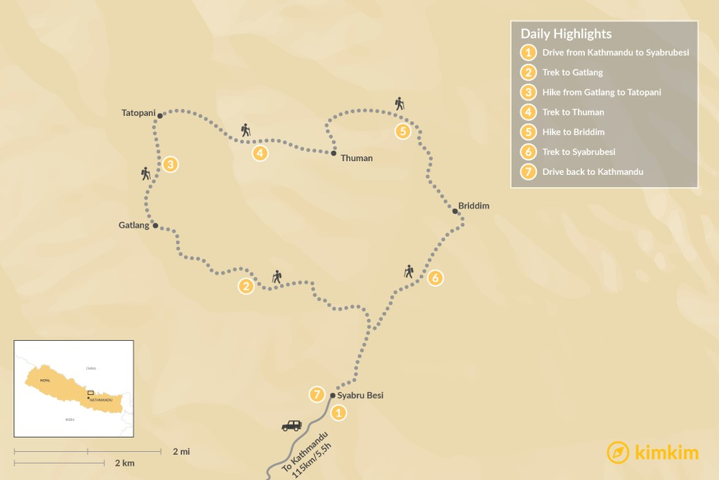 Map of Tamang Heritage Trail - 7 Days