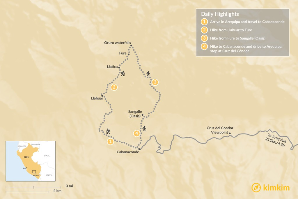 Map of Colca Canyon Trek - 7 Days