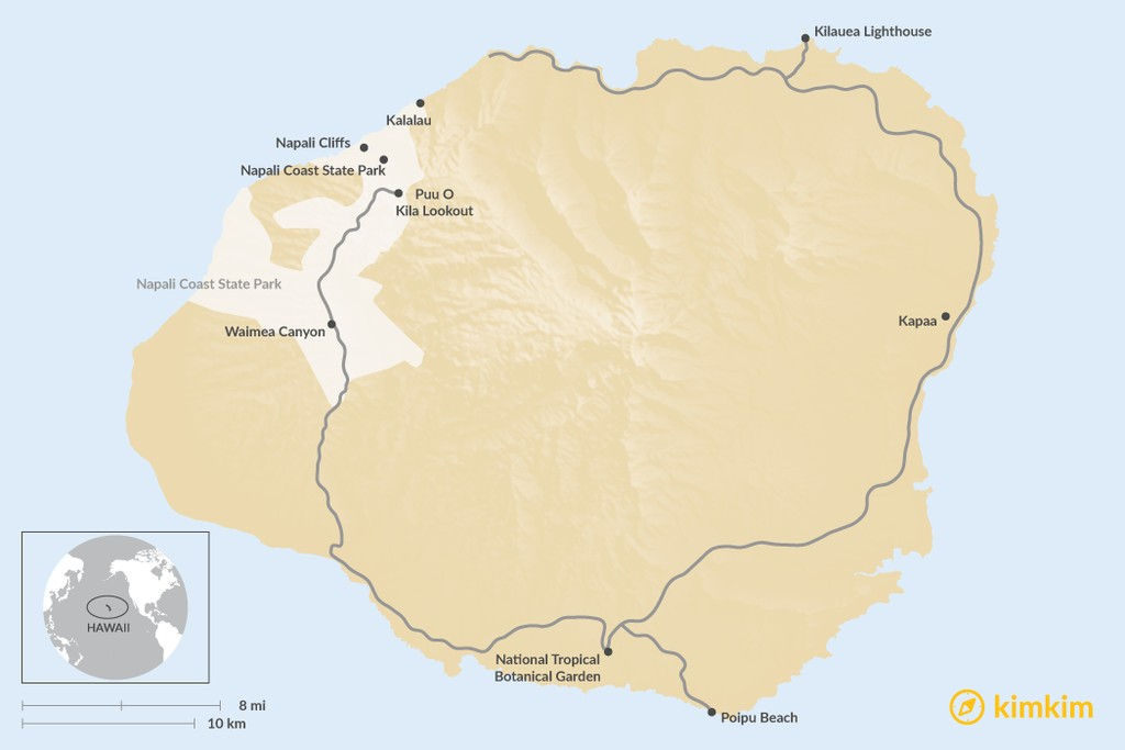 Map of Top 6 Things To Do In Kauai