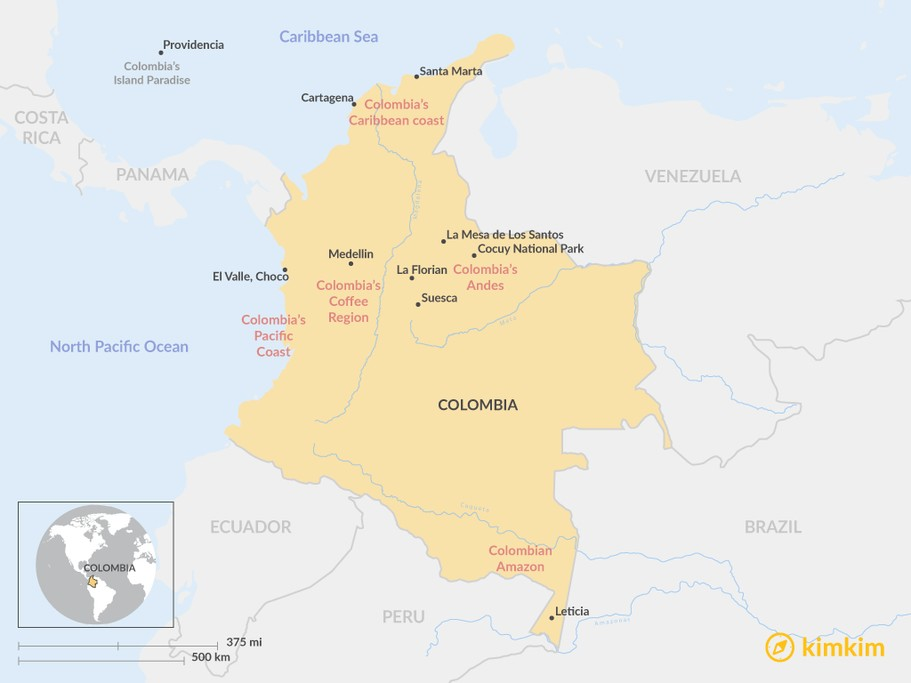 Map of Best Places To Visit In Colombia