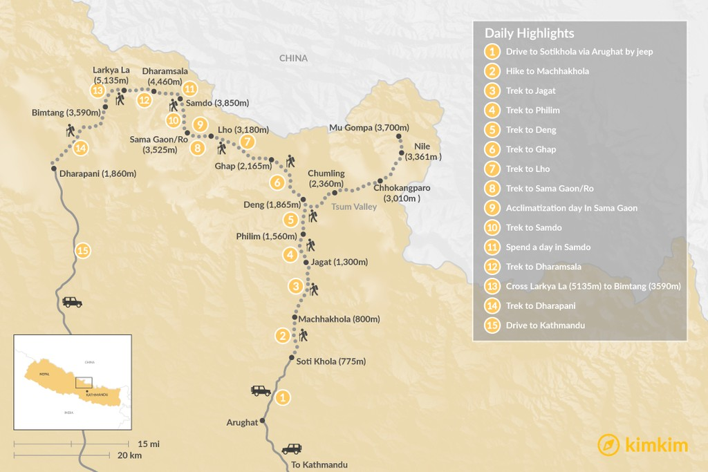 Map of Manaslu Circuit Trek - The Ultimate off-the-beaten-path Trek in Nepal - 13 to 19 days