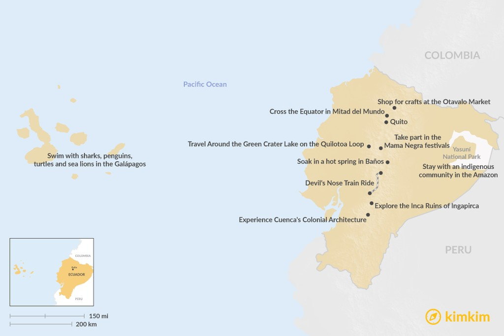Map of Best Things to Do in Ecuador