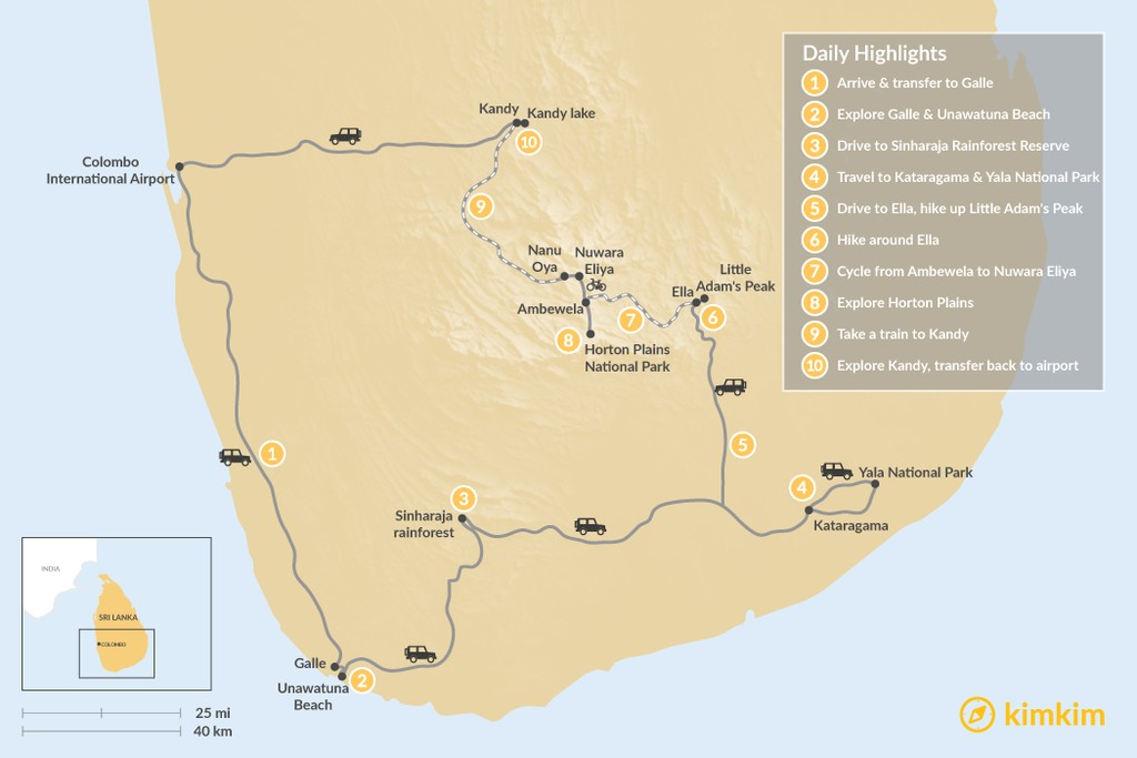 Map of Southern Sri Lanka: Active Adventure - 10 Days