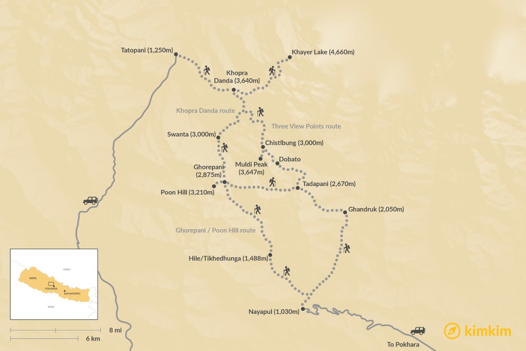 Map of Annapurna Panorama Trek