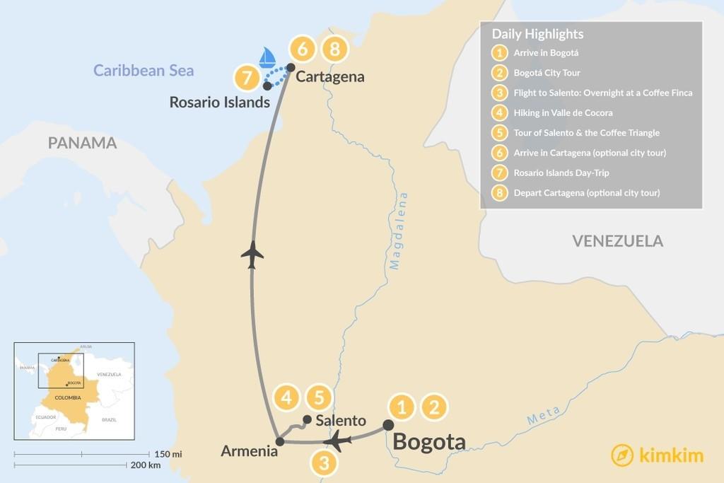 Map of Bogotá, Coffee Triangle & Caribbean Coast - 7 Days