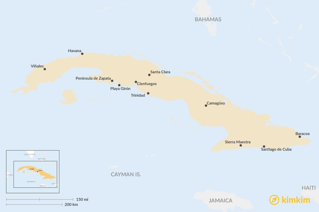 Map of Top 10 Places to Visit in Cuba