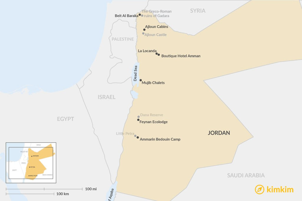 Map of Best Boutique Hotels in Jordan