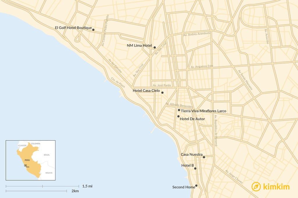 Map of Where to Stay in Lima - The Best Boutique Hotels