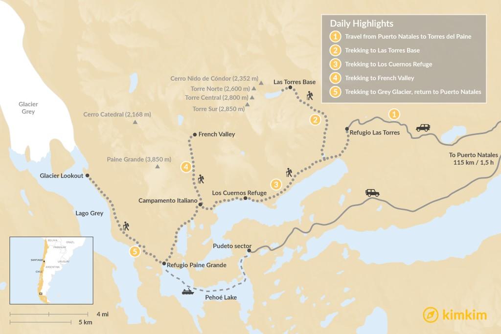 "Map of Torres del Paine ""W"" Circuit Trek - 7 Days"