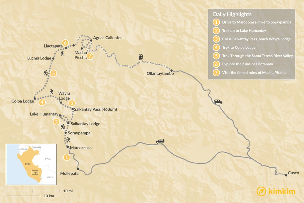 Map of Salkantay Lodge-to-Lodge Trek to Machu Picchu