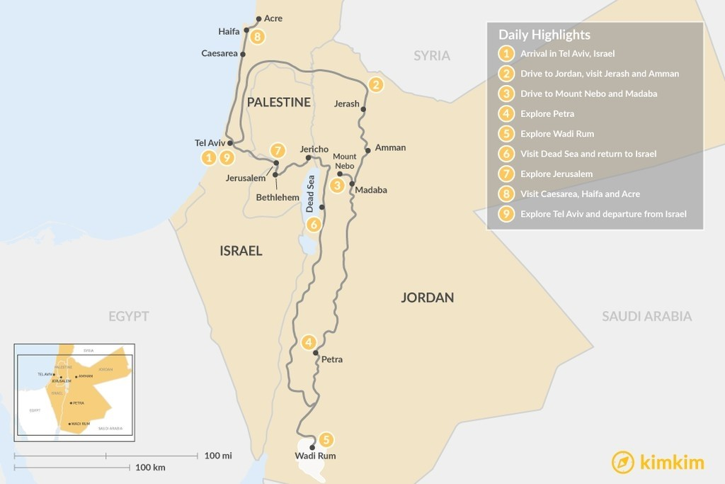 Map of Highlights of Jordan & Israel - 9 Days