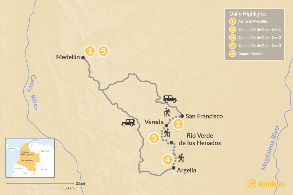 Map of Medellín & Camino Verde - 5 Days