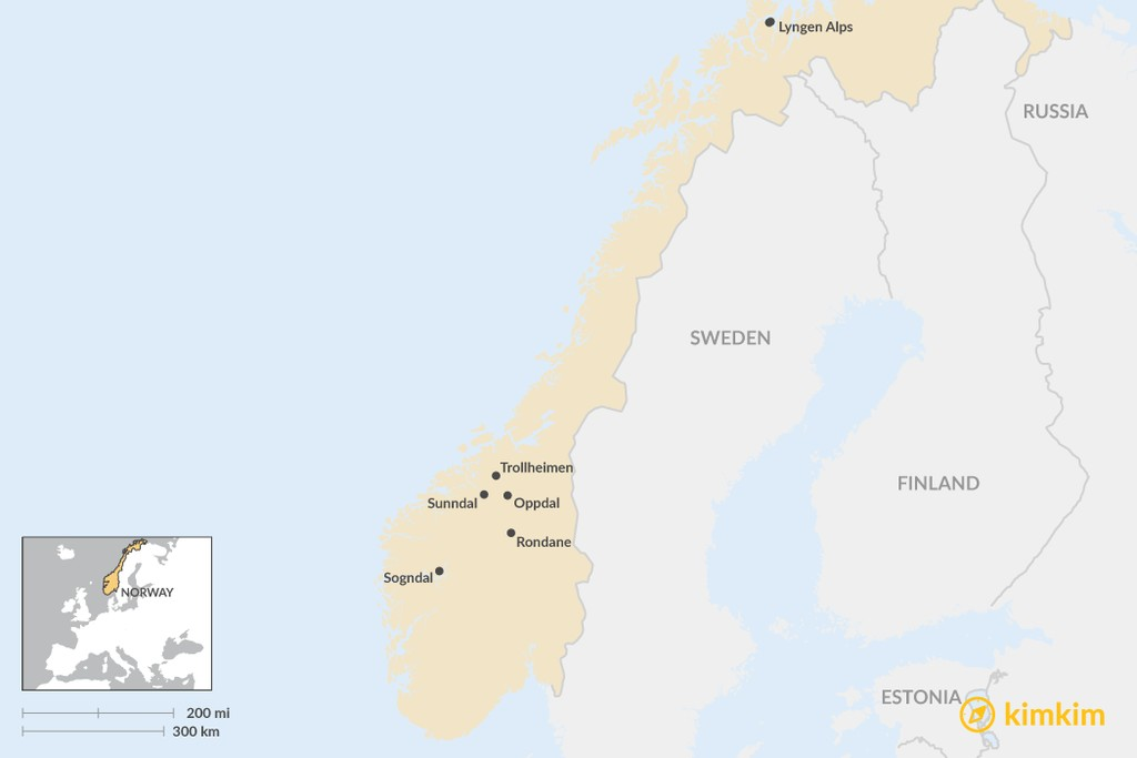 Map of Ultimate Guide to Ski Touring in Norway