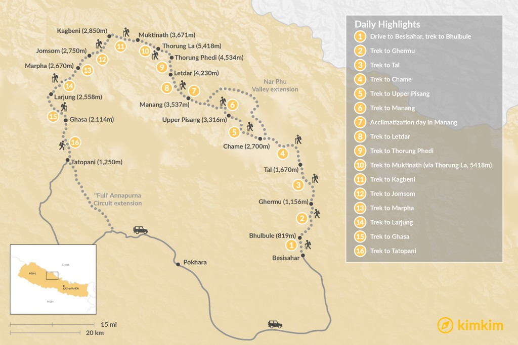Map of Annapurna Circuit Trek - 20 Days