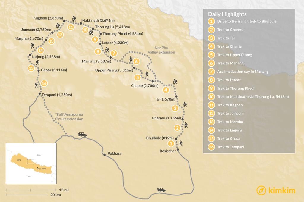 Map of Annapurna Circuit Trek - 16 Days