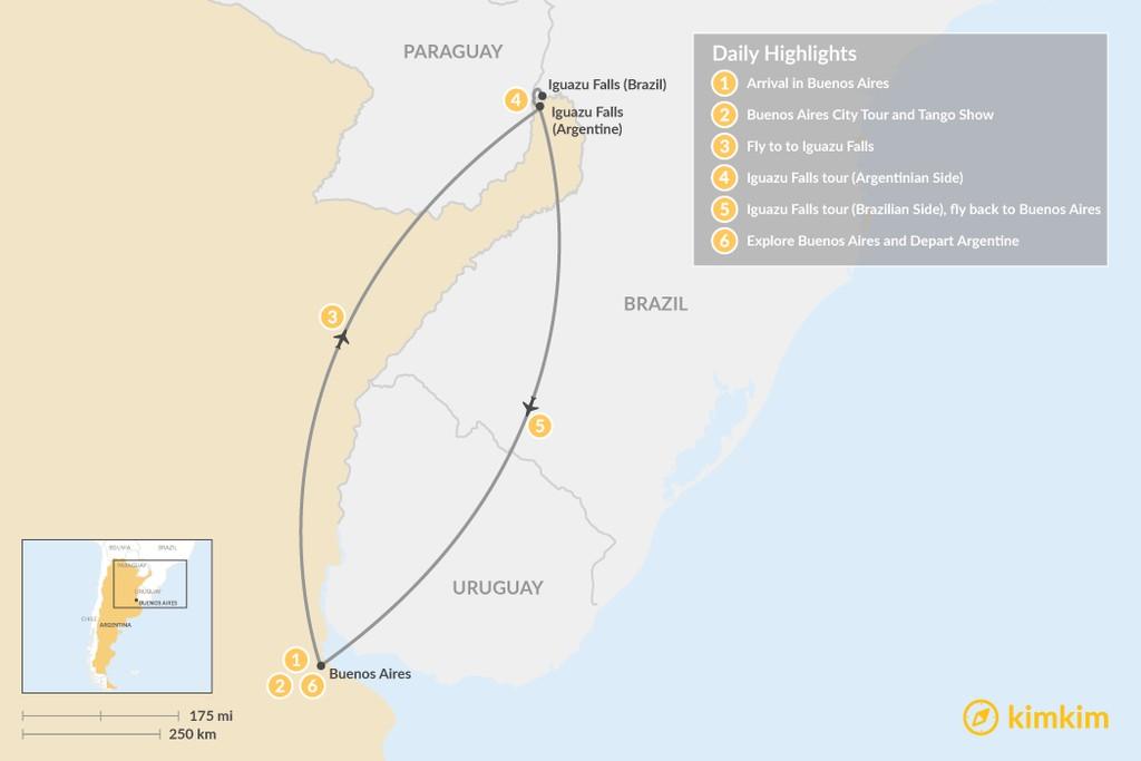 Map of Buenos Aires & Iguazu Falls - 6 Days