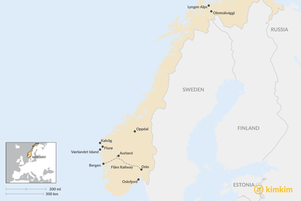 Map of Getting Off-the-Beaten-Path in Norway